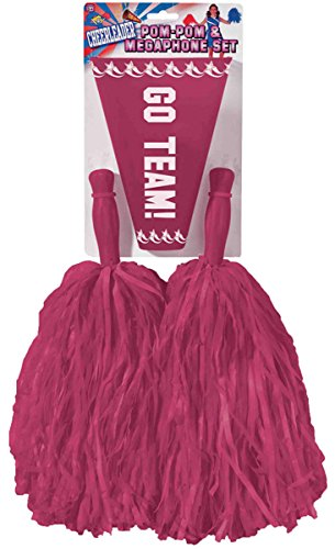 Cheerleader Burgundy Pom-Poms & Megaphone Set (Cheap Cheerleader Pom Poms)