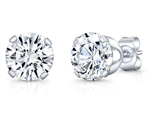 1.50cttw 6MM Sterling Silver CZ Pair Round Diamond Stud Studs Earrings Set