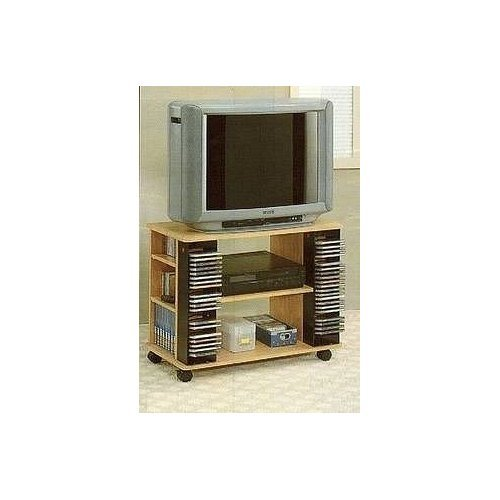 Natural Finish Wood Entertainment Center TV Cart Stand with CD Rack VCR/DVD Shelf