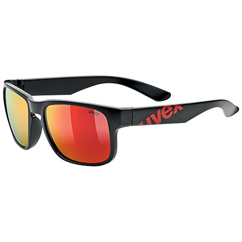 Uvex LGL 22 - Gafas deportivas unisex, color negro mate / rojo