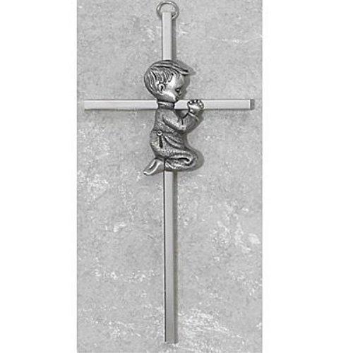 Silver Boy Cross  Decor Gift Religious  6 Inch