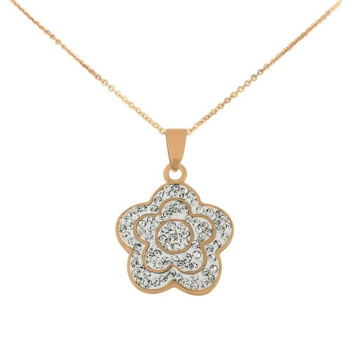 Stainless Steel Rose Gold Tone Flower Pendant with Cubic Zirconia & Chain