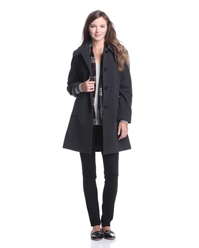 London Fog Women's Button-Up Coat with Scarf  [Charcoal]