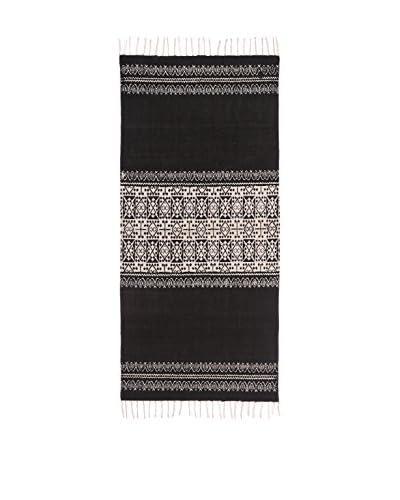 Oriental Alfombra Flecos Blanco/Negro