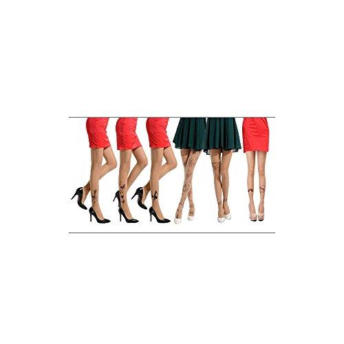 Peleustech® Sexy 6Pcs Thin Tattoo Pattern Printing Tights Pantyhose Leggings Set