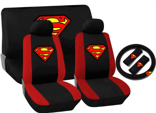 11 Piece Auto Interior Gift Set - SUPERMAN Logo - 2 Front Seat Covers (2 Front and 2 Bottom), 2 Headrest Covers, 2 Seat Belt Shoulder Pads, 1 Steering Wheel Cover, 1 Bench Seat Cover (1 Top and 1 Bottom)