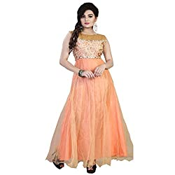 ARAJA FASHION DESIGNER LIGHT ORANGE&BROWN COLOR NET&GEORGETTE ROUND PACK NECK EMBROIDERED&STONE WORK FANCY COLLECTION PARTY , MARRIAGE AND FESTIVAL WEAR GOWN