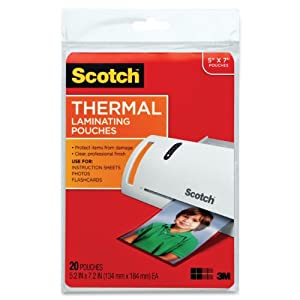 Scotch Thermal Laminating Pouches, 5 Inches x 7 Inches, 20 Pouches (TP5903-20)