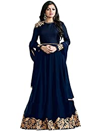 Ank Women's Blue Banglori Georgette Embroidered Long Semi-Stitched Salwar Suit