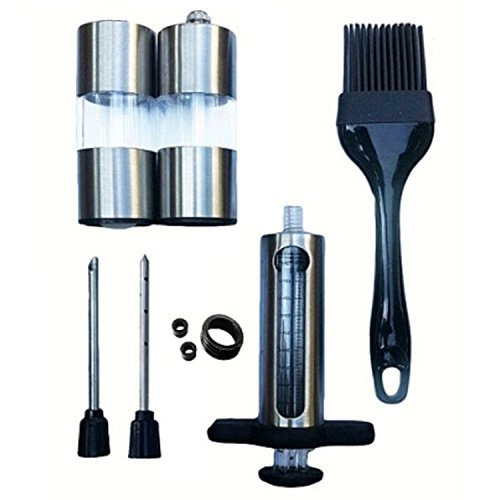 ekSel Marinade Injector Set with needles Stainless Steel plus BPA free Silicone Basting Brush and Pepper Mill & Salt Shaker (Salt Brush compare prices)
