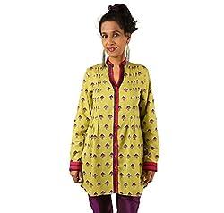 INDRICKA Lime Green colour Bio-silk (Modal) Tunic for womens