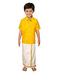 Thangamagan Baby Boy's Shirt/Dhoty Regular Fit (Yellow,Age : 6 to 12 Months)