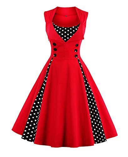 Killreal Women's Casual Cocktail Vintage Style Polka Dot Print Rockabilly Dress for Christmas Holiday Red Large