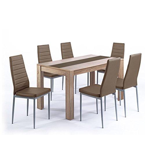 Tischgruppe-Pegasus-Esszimmer-Kche-Tisch-Sonoma-Eiche-6-Sthle-in-cappuccino