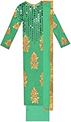 Classic Women's Cotton Unstitched Dress Material (Green)