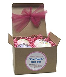 Extra Large Bath Bomb 4-Pack Gift Set (Shea Butter, Sweet Almond Oil, Sea Salts and Essential Oils) - Contain Four 8 oz Bombs from Our Best Sellers List
