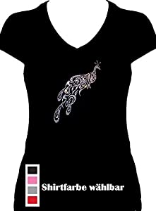 Fun Shirt Pfau kristall Strass elegantes Damen Shirt , T-Shirt, Grösse S, schwarz