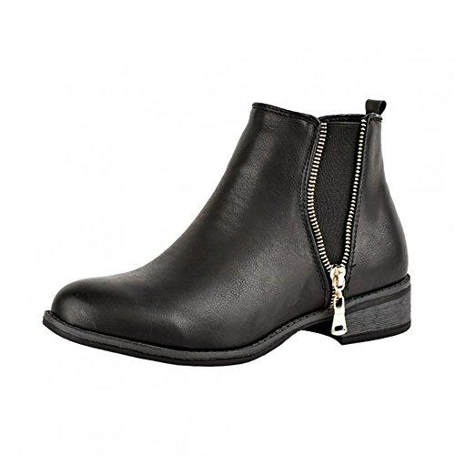 Calzature con tacco basso, da donna, modello Kick-Stivaletti Chelsea alla caviglia, (BLACK - D5173), 38 EU
