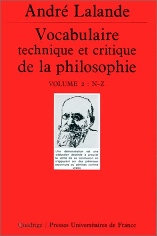 Vocabulaire technique et critique de la philosophie, coffret de 2 volumes