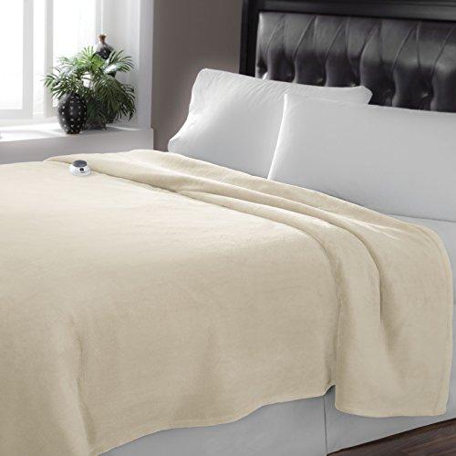 Serta Luxe Plush Low-Voltage Electric Heated Micro-Fleece Blanket, Twin, Cloud
