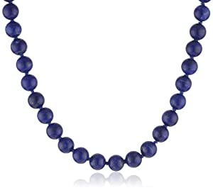 Sterling Silver 8mm Lapis Bead Necklace, 24