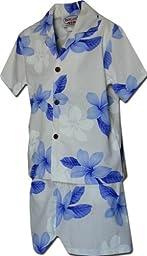 Toddler Boys Hawaiian Clothes Plumerias Blue 4T 220-3551