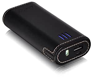 LUXA2 PL2 6000mAh Leather Ultra Capacity Power Bank for Smartphone, Tablet, DC (Digital Camera), Gamepad - Retail Packaging - Black