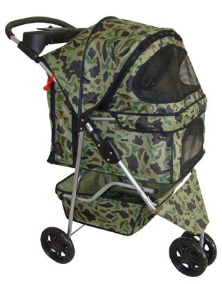 BestPet Pet Stroller Cat Dog 3 Wheel Walk Travel Folding Carrier W/Rain Cover Camouflage