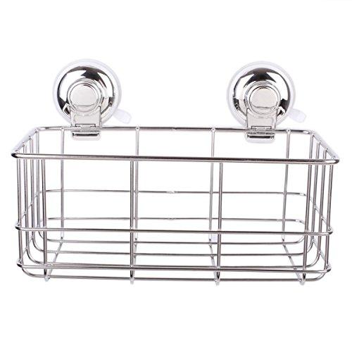 iPegtop Suction Rustproof Stainless Steel Rectangle Shower Caddy Shelf Storage Vacuum Suction Cups Basket Shampoo Shower Gel Holder