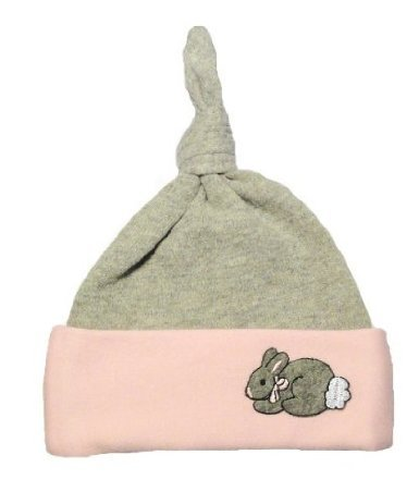 Light Pink And Gray Bunny Knotted Hat (Newborn 0-3 Months To 12 Pounds) front-188662