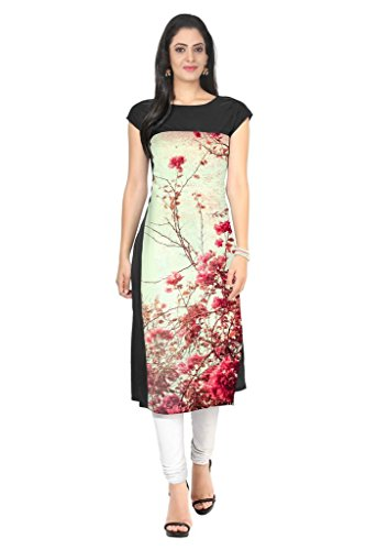 ZIYAA Multi Color Half Sleeve AndBoat Neck Faux Crepe Kurti