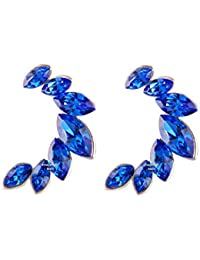 Mahi Valentine Gift With Swarovski Crystal Marquise Sapphire Blue Earrings For Women And Girls ER1104405R