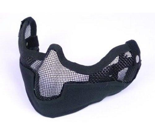 【サバゲー必須アイテム】スチール製ハーフメッシュマスク VER2 BK  顔全体から耳までガード