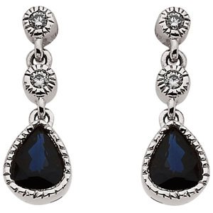 Genuine IceCarats Designer Jewelry Gift 14K White Gold Sapphire & Diamond Earrings. 05.00 X 04.00 Mm Pair Sapphire & Diamond Earrings In 14K White Gold