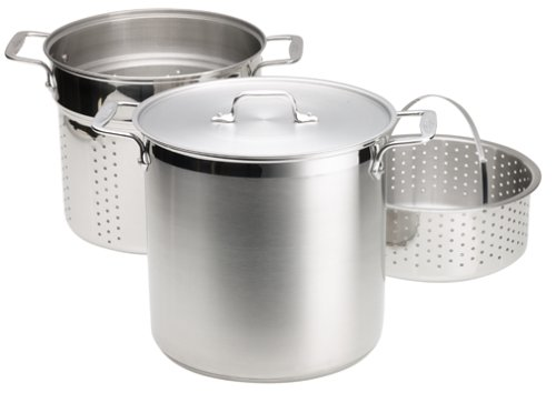 All-Clad E796S364 3 Piece Specialty Stainless Steel Dishwasher Safe Multi Cooker Cookware Set, 12 quart, Silver