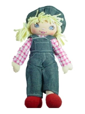 Rag Doll In Denim Jumper With Pink Plaid Shirt Blond 12 Inches Tall