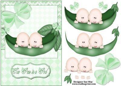 "Two Peas in a Pod "", für Zwillinge, Babys (skin-Decoupage Sue Art)"