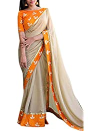 RV Creation Women's New Arrivals Orange & Beige Color Saree With Designer Blouse Piece