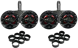 4) Boss CH6530 6.5-Inch 600W Speakers Black with 2) 6.5-Inch Dual Tower Enclosures (Pair)