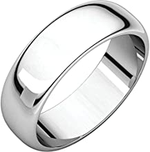 0600 mm Half Round Wedding Band Ring in Sterling Silver Size 85