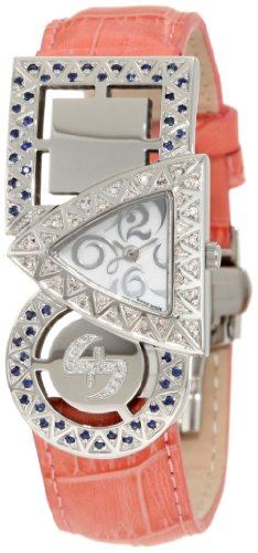 Swisstek SK21908L Limited Edition Swiss Pink And White Diamond Watch With Blue Sapphires, Interchangeable Leather Strap And Sapphire Crystal