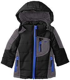 YMI Baby Boys\' Color Block Bubble Jacket with Detachable Hood, Black, 24 Months