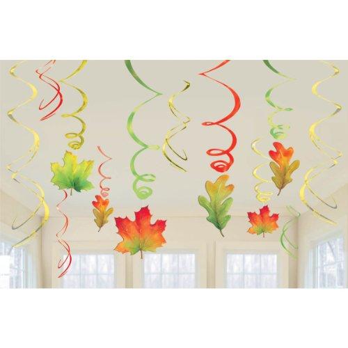 Fall Leaf Foil Swirl Hanging Decorations (Each)