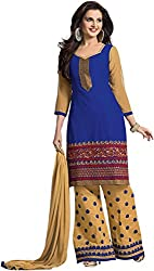 Sinina Women's Cotton Unstitched Dress Material (RHPZ7_Blue Cream_Free Size)