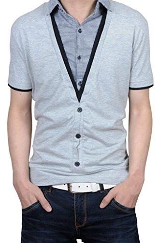 Camicie Gillbro Uomo Casual manica corta piccola griglia fornita Maglione, Gray, 2XL