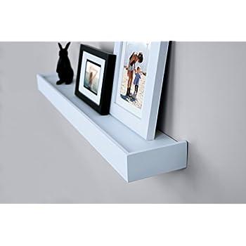 Ballucci Modern Ledge Wall Shelves, Set of 4, White