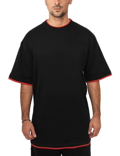 Urban Classics Bekleidung Contrast Tall Tee-T-shirt Uomo, Blk/Red, XX-Large (Tallia Produttore: XX-Large)