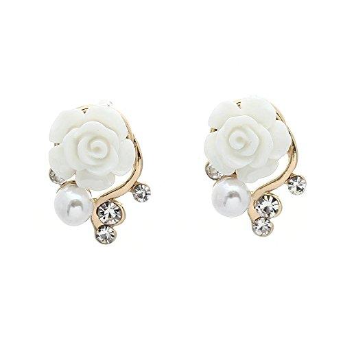SODIAL(R) Pair Women Earring Stud Cute White