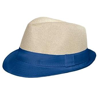 CASPAR Unisex Trilby Hut / Strohhut mit farbiger Krempe - 2 Modelle - viele Farben - HT001, Farbe:No.1 blau