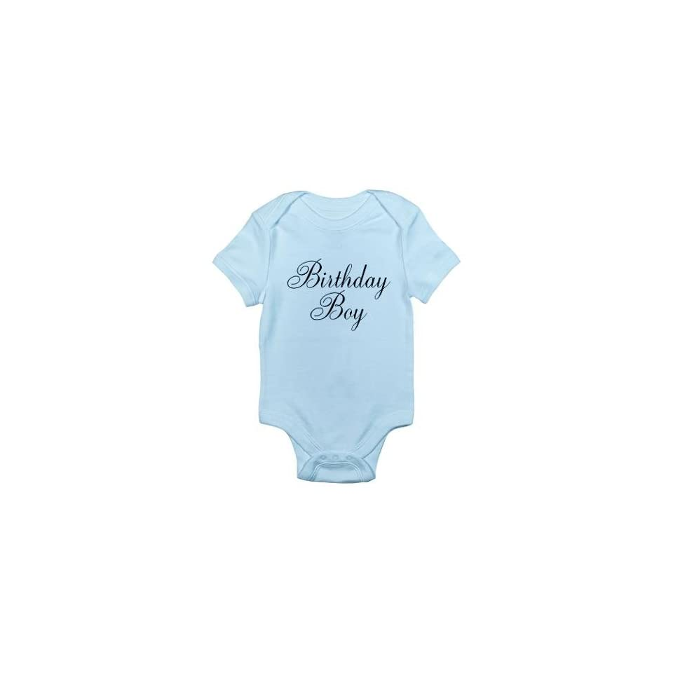Birthday Boy Black Script First Blue Baby Onesie Shirt Size 12 18 Months